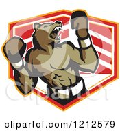 Clipart Of A Growling Boxer Bear Over A Shield Royalty Free Vector Illustration