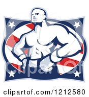 Clipart Of A Retro Muscular Boxer Over American Stars And Stripes Royalty Free Vector Illustration