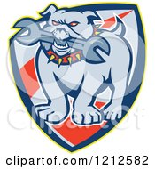 Clipart Of An Angry Bulldog Biting A Wrench On A Shield Royalty Free Vector Illustration