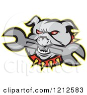 Clipart Of An Angry Bulldog Biting A Wrench Royalty Free Vector Illustration