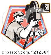 Clipart Of A Retro Camera Man Filming Over A Blue And Red Crest Royalty Free Vector Illustration