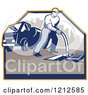 Clipart Of A Retro Man Cleaning A Drainage System With A Hose And Truck Royalty Free Vector Illustration