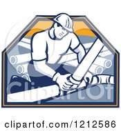 Clipart Of A Retro Builder Connecting Drain Pipes Royalty Free Vector Illustration by patrimonio