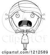 Cartoon Of A Black And White Scared Pregnant Woman Screaming Royalty Free Vector Clipart by Cory Thoman