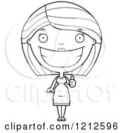 Cartoon Of A Black And White Happy Pregnant Woman Holding A Thumb Up Royalty Free Vector Clipart by Cory Thoman