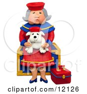 3d Granny Sitting On A Chest With Her Lookalike Bulldog