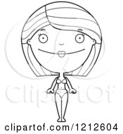 Cartoon Of A Black And White Happy Woman In A Bikini Royalty Free Vector Clipart