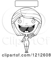 Cartoon Of A Black And White Talking Fitness Woman Royalty Free Vector Clipart