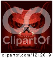 Clipart Of A Red Evil Demon Face Royalty Free Vector Illustration by Cory Thoman