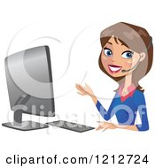 Clipart Of A Happy Brunette Business Woman Wearing A Headset At A Computer Royalty Free Vector Illustration by peachidesigns #COLLC1212724-0137