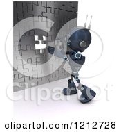 Clipart Of A 3d Blue Android Robot Inserting The Last Piece To A Puzzle Wall Royalty Free CGI Illustration