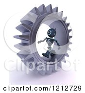 Clipart Of A 3d Blue Android Robot Walking In A Gear 2 Royalty Free CGI Illustration by KJ Pargeter