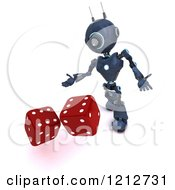 3d Blue Android Robot Rolling Game Or Casino Dice