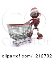 Clipart Of A 3d Red Android Robot Wearing A Santa Hat And Pushing A Shopping Cart Royalty Free CGI Illustration
