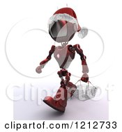 Clipart Of A 3d Red Android Robot Wearing A Santa Hat And Carrying A Shopping Basket Royalty Free CGI Illustration
