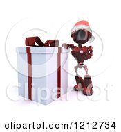 Clipart Of A 3d Red Android Robot Santa Standing By A Gift Box Royalty Free CGI Illustration