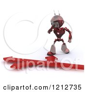 Clipart Of A 3d Red Android Robot Over Directional Arrows Royalty Free CGI Illustration by KJ Pargeter