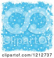 Clipart Of A Christmas Background Of White Grunge And Stars Bordering Blue With Snowflakes Royalty Free Vector Illustration