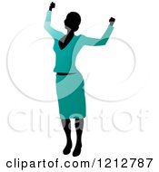 Clipart Of A Silhouetted Woman Cheering In A Turquoise Blouse And Skirt Royalty Free Vector Illustration