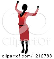 Clipart Of A Silhouetted Woman Cheering In A Red Blouse And Skirt Royalty Free Vector Illustration