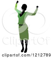 Clipart Of A Silhouetted Woman Cheering In A Green Blouse And Skirt Royalty Free Vector Illustration