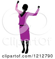 Clipart Of A Silhouetted Woman Cheering In A Purple Blouse And Skirt Royalty Free Vector Illustration