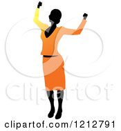 Clipart Of A Silhouetted Woman Cheering In An Orange Blouse And Skirt Royalty Free Vector Illustration