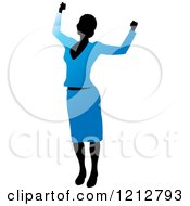 Clipart Of A Silhouetted Woman Cheering In A Blue Blouse And Skirt Royalty Free Vector Illustration