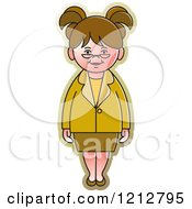 Clipart Of A Girl Or Woman In A Green And Yellow Outfit Royalty Free Vector Illustration