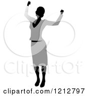 Clipart Of A Silhouetted Woman Cheering In A Gray Blouse And Skirt Royalty Free Vector Illustration