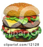 Clay Sculpture Clipart Juicy Cheeseburger With A Sesame Seed Bun Royalty Free 3d Illustration by Amy Vangsgard