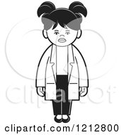 Clipart Of A Black And White Girl Or Woman In A Lab Coat Royalty Free Vector Illustration