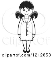 Clipart Of A Black And White Girl Royalty Free Vector Illustration