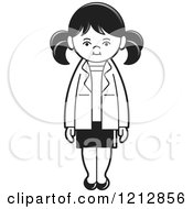 Clipart Of A Black And White Girl 3 Royalty Free Vector Illustration