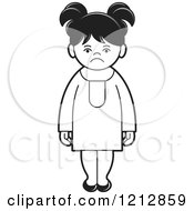 Clipart Of A Black And White Girl 6 Royalty Free Vector Illustration