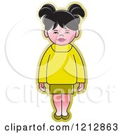 Clipart Of A Girl In A Yellow And Green Outfit Royalty Free Vector Illustration