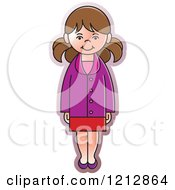 Clipart Of A Girl In A Purple Coat Royalty Free Vector Illustration