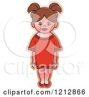 Clipart Of A Girl In A Red Dress Royalty Free Vector Illustration