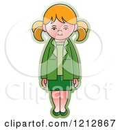 Clipart Of A Girl In A Green Outfit Royalty Free Vector Illustration