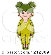 Clipart Of A Girl In A Green Outfit 2 Royalty Free Vector Illustration