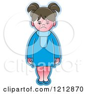 Clipart Of A Girl In A Blue Dress Royalty Free Vector Illustration