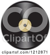 Clipart Of A Shiny Vinyl Record With A Blank Tan Label Royalty Free Vector Illustration