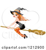 Cartoon Of A Sexy Red Haired Halloween Witch In A Black Dress Flying On A Broomstick Royalty Free Vector Clipart