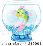 Cartoon Of A Happy Fish In A Bowl Royalty Free Vector Clipart by Pushkin