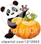 Cartoon Of A Cute Panda Waving And Holding An Autumn Pumpkin Royalty Free Vector Clipart