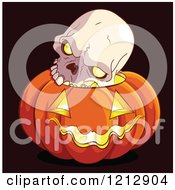 Human Skull On Top Of A Glowing Halloween Jackolantern Pumpkin