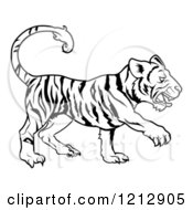 Cartoon Of An Outlined Chinese Zodiac Tiger Royalty Free Vector Clipart by AtStockIllustration