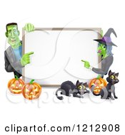 Cartoon Of A Happy Witch And Frankenstein Pointing To A White Board Sign Over Pumpkins And Black Cats Royalty Free Vector Clipart by AtStockIllustration