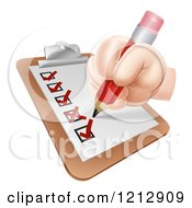 Cartoon Of A Hand Checking Off A Survey List Royalty Free Vector Clipart by AtStockIllustration