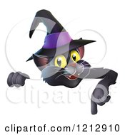 Cartoon Of A Happy Black Cat Wearing A Witch Hat And Pointing Down To A Sign Royalty Free Vector Clipart